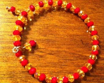Orange and Red Memory Wire Bracelet