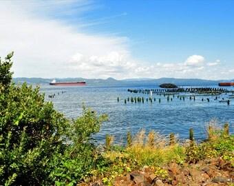 Ocean bay photo, HDR photograph, Blue, green, yellow, fine photography prints, Astoria