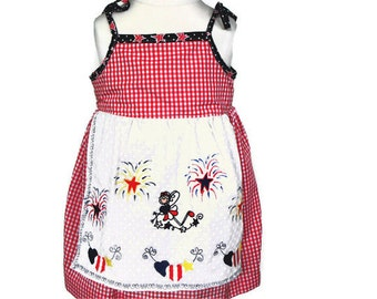 Girls Dress with Attached Apron, girls cotton dress, girls embroidered dress, 4th of July dress, girls summer dress, girls sun dress