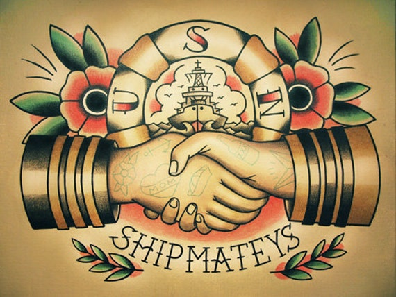 Sailor Handshake Traditional Tattoo Flash