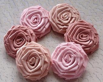 6 Handmade Ribbon Roses (1-3/4 inches) In Tulip, Sweet Nectar, Moon tone MY-071-01 Ready to Ship