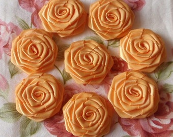 8 Handmade Ribbon Roses (1-1/4 inches) In  Peach MY-031 - 122 Ready To Ship