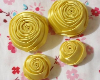 4 Handmade Ribbon Rolled Roses (2 inches,1-1/4 inch) in Lemon  MY-060-114 Ready To Ship