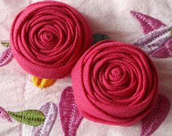 2 Handmade Fabric Rolled Roses (2 inches) In Schocking Pink MY- 107-31  Ready To Ship