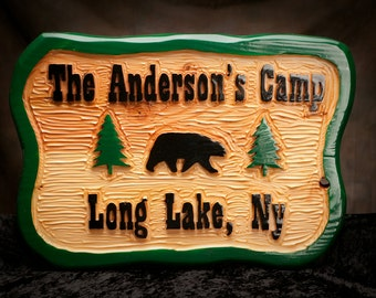 "Personalized rustic carved sign,  Adirondack carved sign,  Custom carved camp sign. 1 1/2  x 18"" x 26"".  Indoor/Outdoor. Heavy Duty."