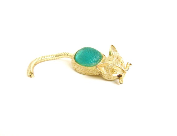 Vintage Green Cat Pin Brooch with Swinging Tail