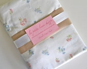 Shabby Chic Cottage Bedding -  Sweet Pink & Blue Floral Fitted Sheet - Double Bed Fitted Sheet