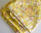 Vintage Queen Mustard Yellow Floral Flat Sheet