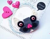 Handmade wool felt brooch, sweet  kitty, white and gray, cat