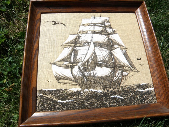 Sailboat painting on burlap, black and white, wood frame
