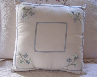 Ribbon & Embroidered Pillow with insert, Shabby Chic, Cottage Chic, Farmhouse Decor