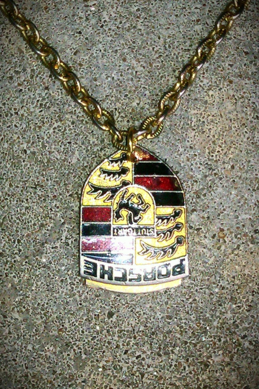 Vintage Necklace Porsche Car Keychain Pendant Charm Gold Link