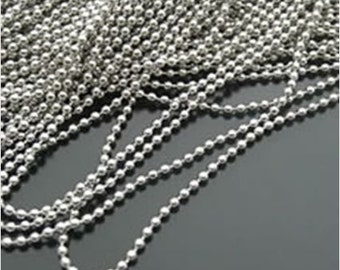 1.5 mm white gold plated Ball chain 5 meters