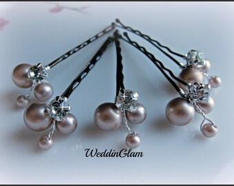 Bridal Hair Pins, Wedding Hair Accessories, Swarovski Champagne Pearls Rhinestones, Bridesmaid Hairdo, Flower clip, Maid of honor gift