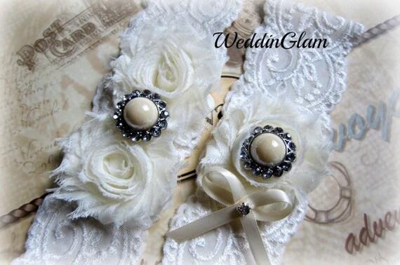Vintage Bridal Garter Wedding Garter Set Toss Garter included Ivory with Rhinestones and Pearls Wedding  Bridal garter Victorian garter