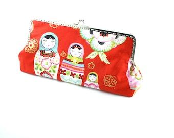 Cotton fabric clutch frame purse matryoshka design purse, handbag,Wedding clutch, Bridesmaid gift idea, Evening purse, Bridesmaid clutch red