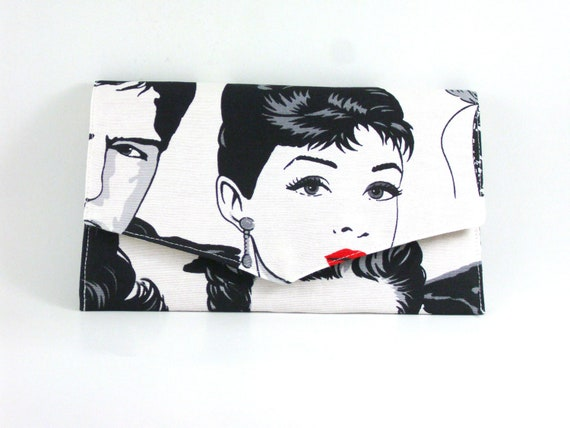 Cotton Fabric  clutch, retro design, audrey hepburn, hand bag, black white and red in color handbag purse womens gift for her back to school