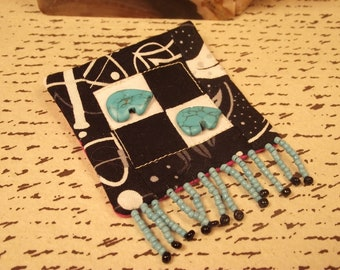 Black and White and teal quilted and beaded pin brooch