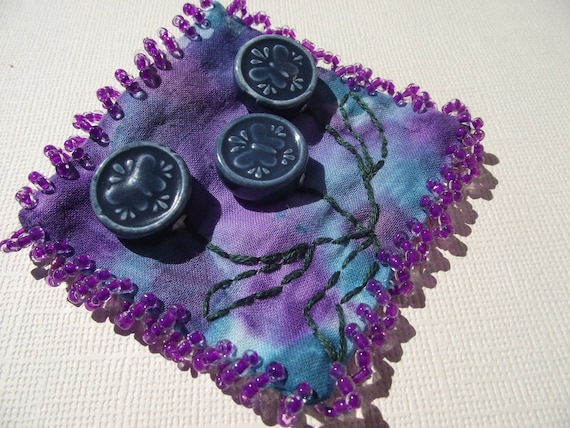 Hand painted purple and blue pin brooch