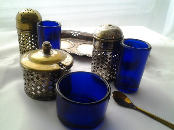 Vintage Condiment Set Silver Plated with Cobalt Glass Liners Celtic Quality Plate Made in England Salt, Pepper, Mustard with Spoon