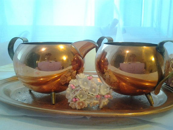 Vintage Copper Sugar and Creamer Set with Tray Vintage Farmhouse Steampunk Sugar Bowl Cream Pitcher
