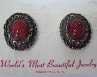 Vintage LUDY LEE Red Scarab Clip Earrings