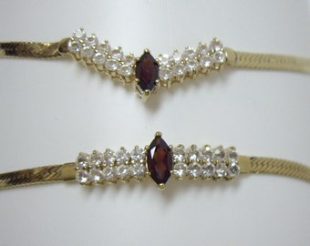 Vintage Garnet White CZ Herringbone Chain Necklace Bracelet Set Korea