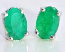 Genuine Emerald Oval Stud Earrings .925 Sterling Silver Rhodium Finish