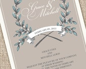 Rustic Modern Wedding Invitations with a French Wreath