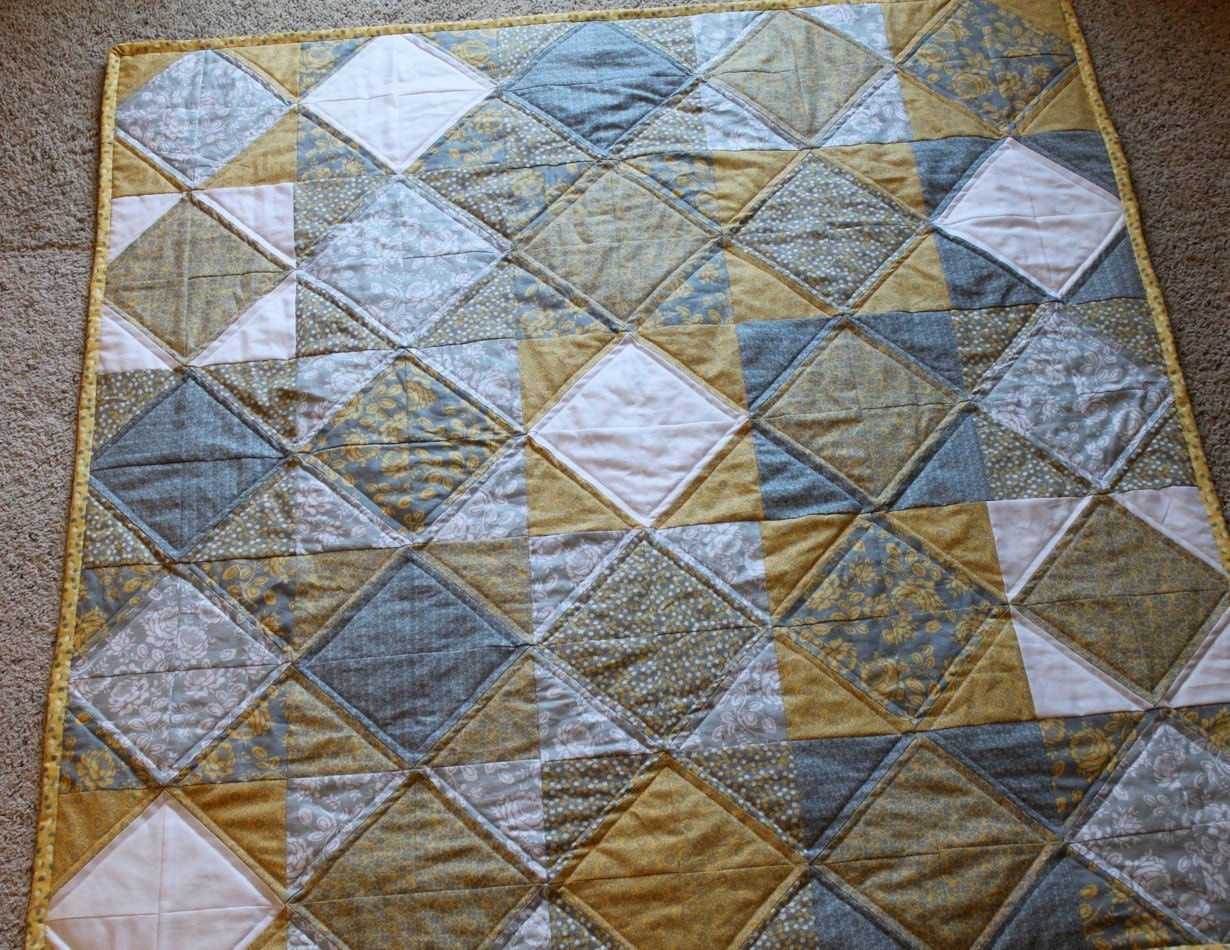 Gray Yellow Quilt Target : Custom listing for amy yellow gray diamond baby quilt