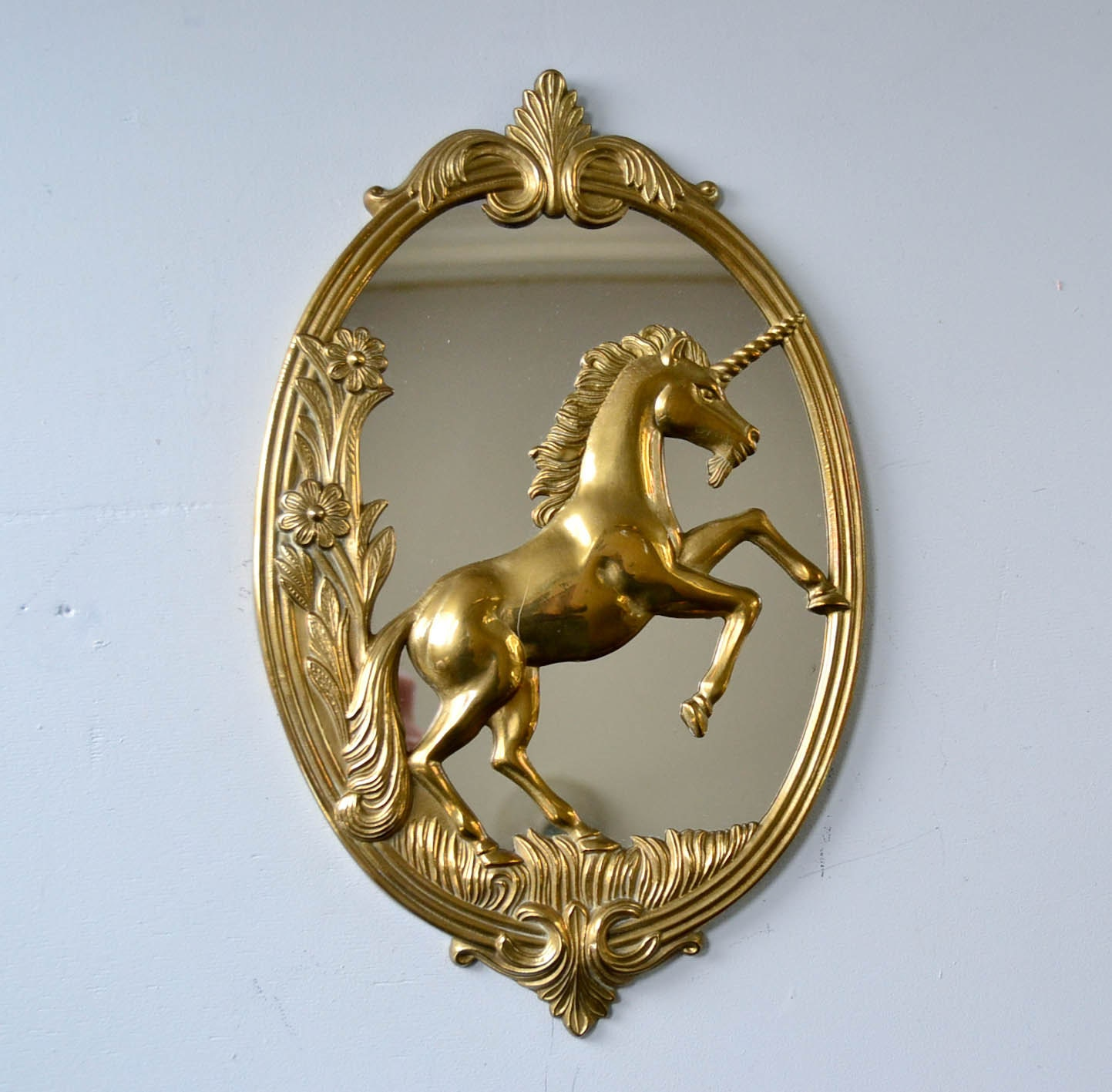 Vintage Brass Unicorn Mirror
