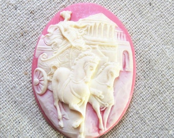 6 pcs of vintage cameo 30x40mm -0153-crean on pink