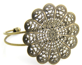 2 pcs of brass filigree cuff bracelet-5506-antique bronze