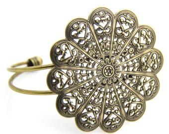 2 pcs of brass filigree cuff bracelet-5506-antique bronze