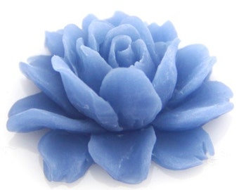 6 pcs of resin smaller size big rose cabochon-23x18x9mmRC0026-41-capri blue