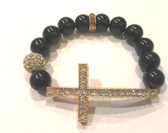 Gold Rhinestone Sideways Cross Shamballa Black Bead Bracelet