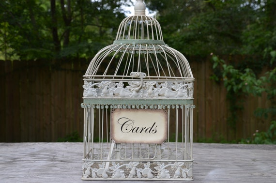 Wedding birdcage card holder, ivory birdcage, antique birdcage