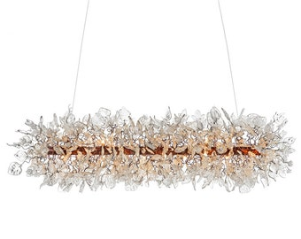 Ceiling light fixture Chandelier with Transparent flowers and leaves for dinning room, living room.