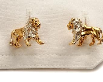 Lion cufflinks in 18ct Gold Vermeil.