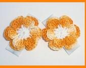 2 Crochet flower hair clips