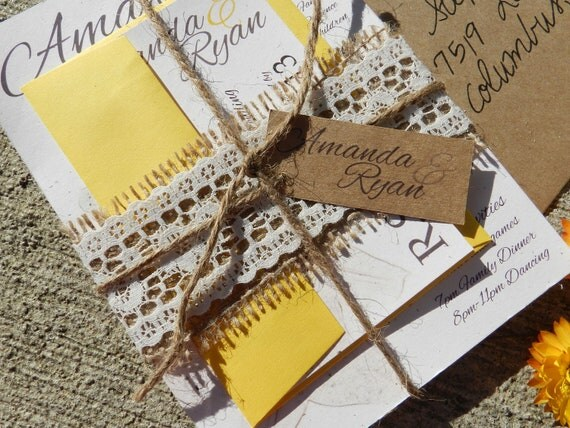 Wedding Invitations With Burlap: Items Similar To Burlap & Lace Lily Wedding Invitation
