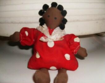 8 Inch Black Baby Bean Bag Shelf Sitter, Hand Made, Polka Dot Dress w/lace scarf