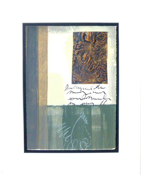 Mixed Media Abstract Painting, Matted Artwork in Grey and White with Copper, Entitled-Drawing in Copper- by wheatleypaperworks