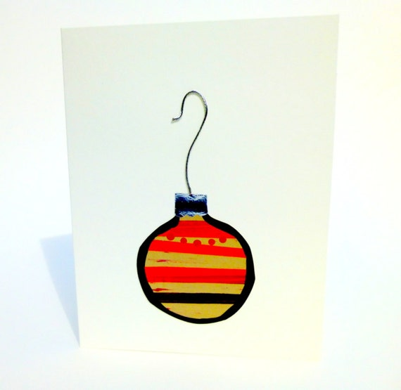 Simple Christmas Card with a Vintage Christmas Ornament  Blank OOAK Hand Painted in Orange and Yellow with a Real Silver Cap and Hook