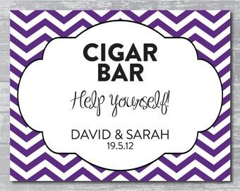 Custom Chevron Modern Cigar Bar Sign DIY Wedding Poster Printable