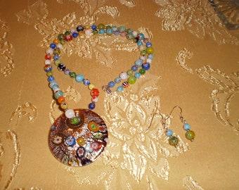 Glass foil and multi colored Millefiori Necklace Set