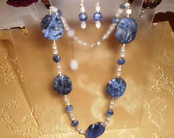 Polished Wavy Lapis Lazuli Necklace Set