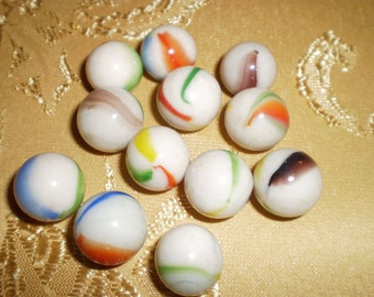 Vintage Handmade multiple sized white milk swirl marbles
