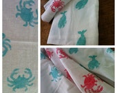 "Burp Cloth, blue crab  28"" x 29""  cotton"