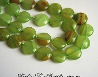 Bead, precious, gemstone, natural, stone, nugget Green Onyx Gemstone Beads 15 mm Large Flat Round Beads, 8 inch Strand